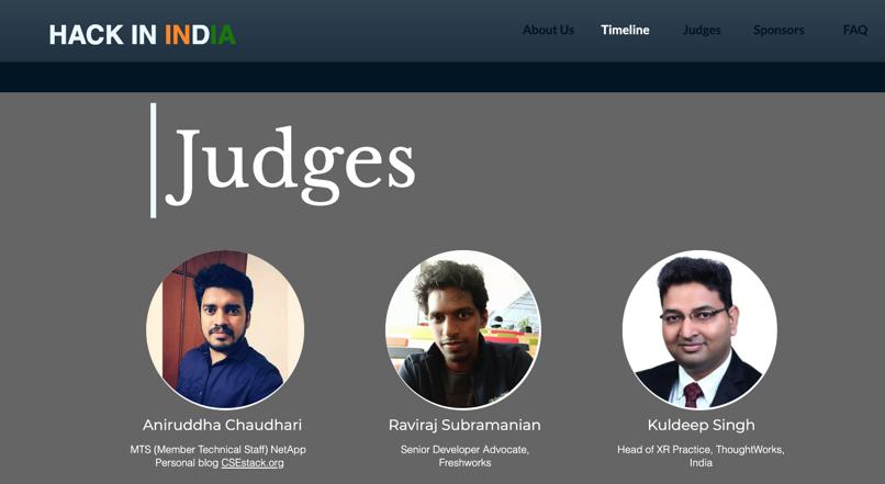 image from Judge - HackInIndia - Hackathon 2020